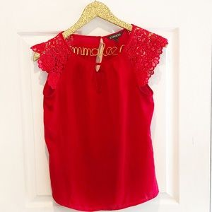 Express Red Lace Yolk Blouse